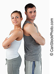 Portrait of a fit couple posing