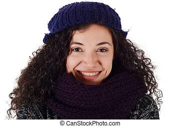 Portrait of a freezing woman in winter