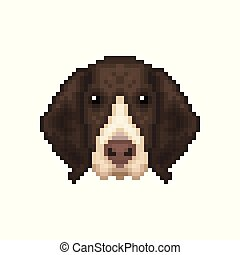 Portrait of a French Pointing Dog in pixel art style.