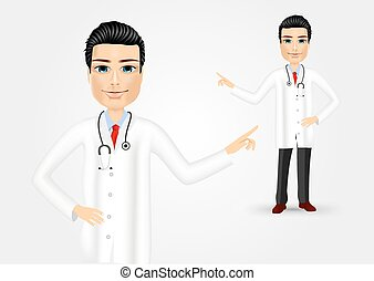 medical doctor pointing at something