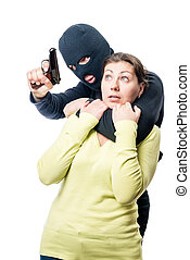 Portrait of a frightened hostage and dangerous terrorist with a gun on white background
