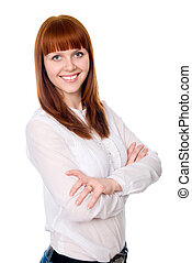 Portrait of a fun beautiful young woman with folded arms