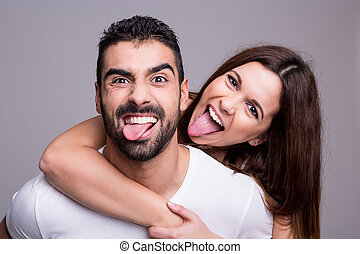 Portrait of a funny couple - Portrait of a funny love couple...
