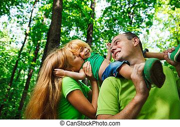 Portrait of a funny family having fun