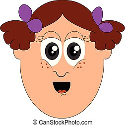 Portrait of a funny little girls face vector or color illustration
