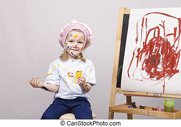 Portrait of a girl artist at the easel