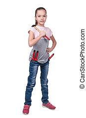 Portrait of a girl builder