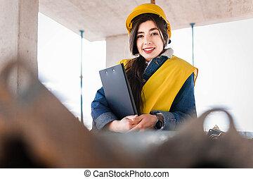 Portrait of a girl construction inspector