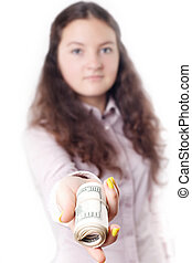 portrait of a girl giving money isolated