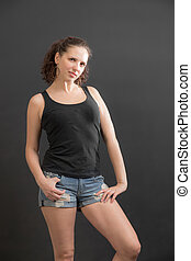 girl in a black tank top