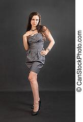 girl in a gray dress