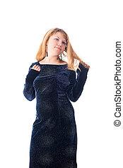 girl in a long dark dress