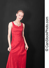 girl in a red dress