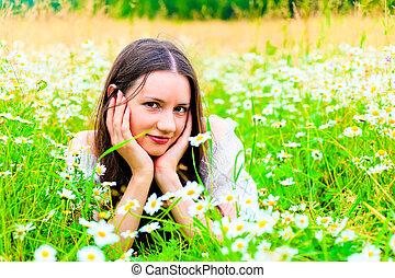 portrait of a girl in a rural field
