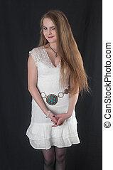girl in a white dress