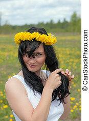 girl in a wreath of dandelions
