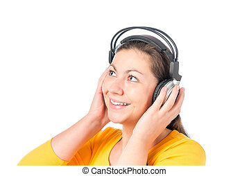portrait of a girl in headphones on a white background