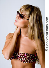Portrait of a girl in sunglasses and swimsuit
