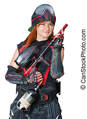 Portrait of a girl in uniform with paintball guns