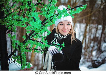 portrait of a girl in winter on the