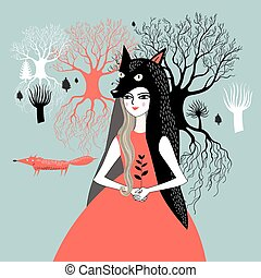 portrait of a girl nature - fabulous graphic portrait of the...