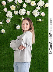 girl on a green background