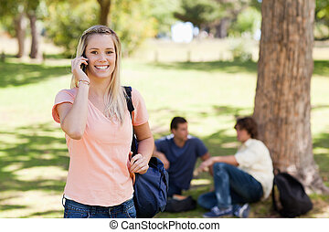 Portrait of a girl on the phone