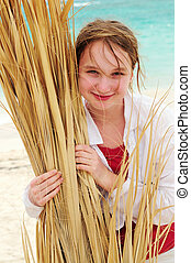 Portrait of a girl on tropical beach