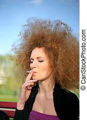 portrait of a girl smoking