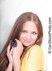 girl with a black domestic rat