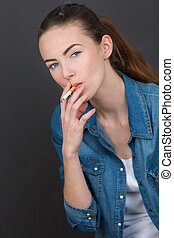 portrait of a girl with a cigarette