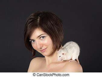 girl with a rat