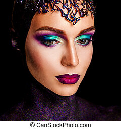 portrait of a girl with art make-up. art photo of a beautiful woman