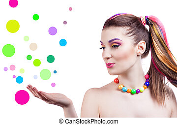portrait of a girl with bright makeup and colorful accessories