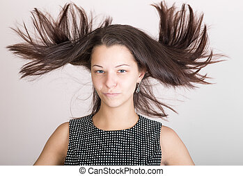 girl with disheveled hair
