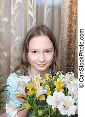 girl with flowers closeup