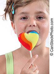 portrait of a girl with lollypop