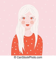 Portrait of a girl with long white hair, in red sweater, on pink background with white stars, flat vector illustration