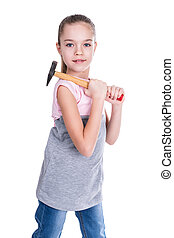 Portrait of a girl with small hammer