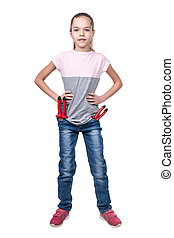 Portrait of a girl workman