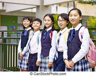 portrait of a group of asian elementary school children