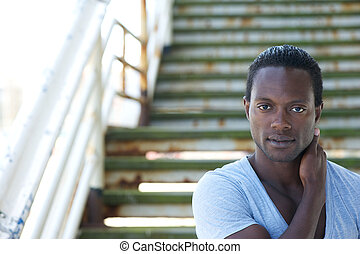 Portrait of a handsome black male model