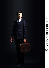 Portrait of a handsome business man  with briefcase isolated on