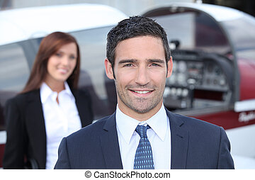 Portrait of a handsome businessman in blue suit