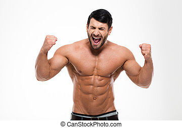 Portrait of a handsome muscular man shouting