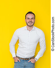 man isolated over a yellow background