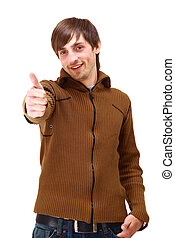 Portrait of a handsome young man, thumbs up over white background