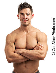Portrait of a handsome young muscular man