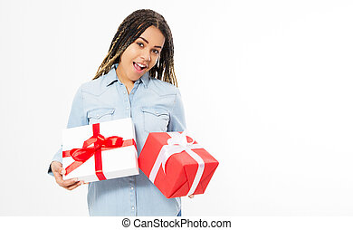 Portrait of a happy afro american woman holding present box isolated over white background