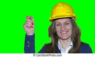 Portrait of a happy attractive caucasian businesswoman real estate agent